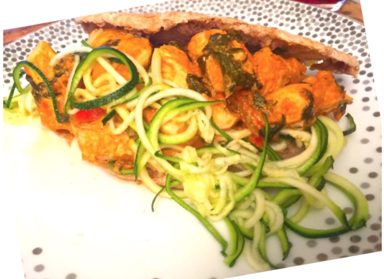 Spicy Chicken Tikka Masala Kebab, served with Steamed Courgette